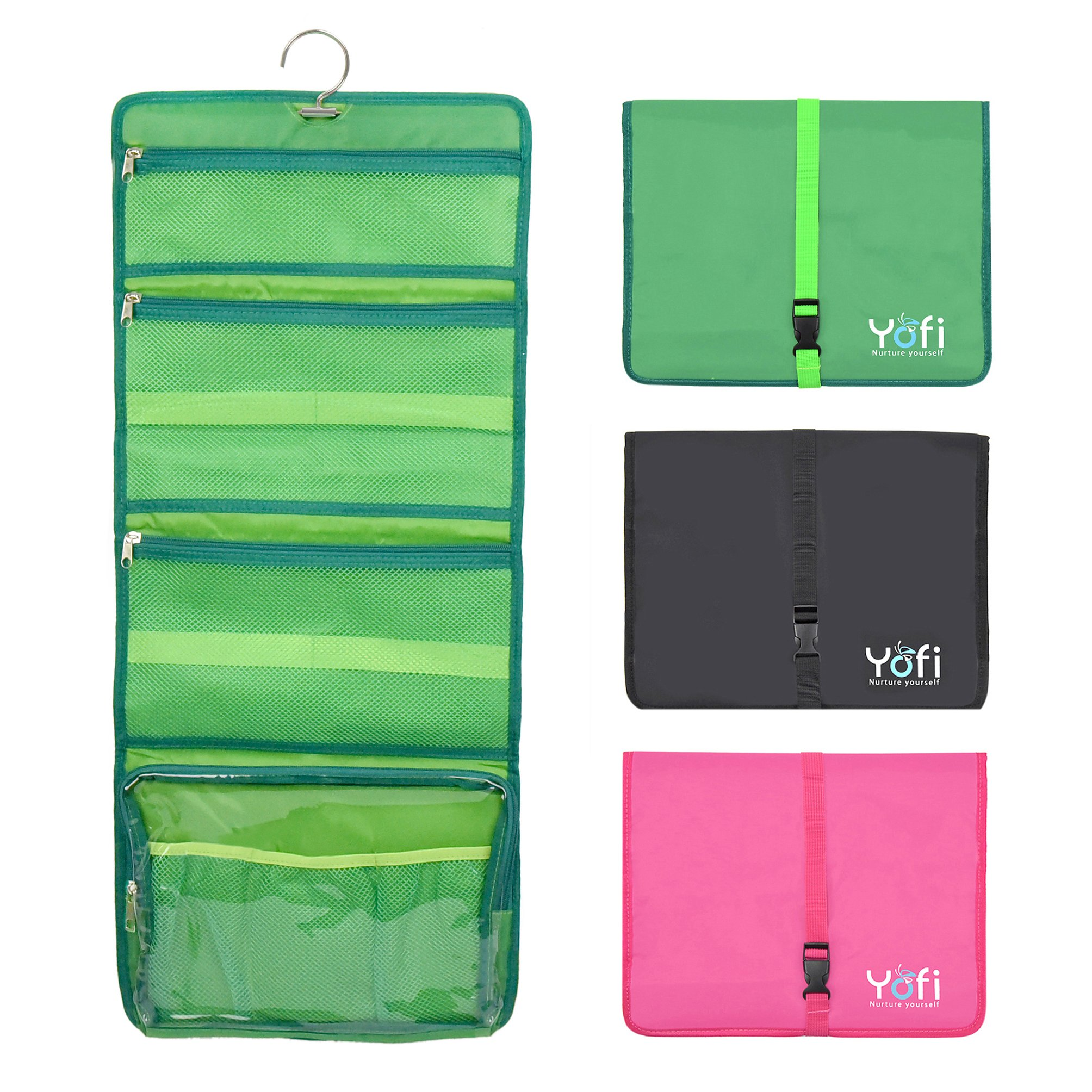Yofi Nurture yourself Hanging Toiletry Bag Organizer for Cosmetics, Makeup, Jewelry, Toiletries, Shaving Tools in Green Expandable, Polyester Case with Zippers and Sections for Home or Traveling