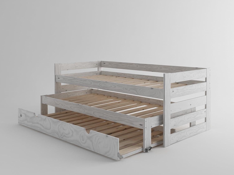 Cama Compacta De Madera Maciza Con Lamas Y Nido Blanco N Rdico  # Muebles Lufe Instrucciones