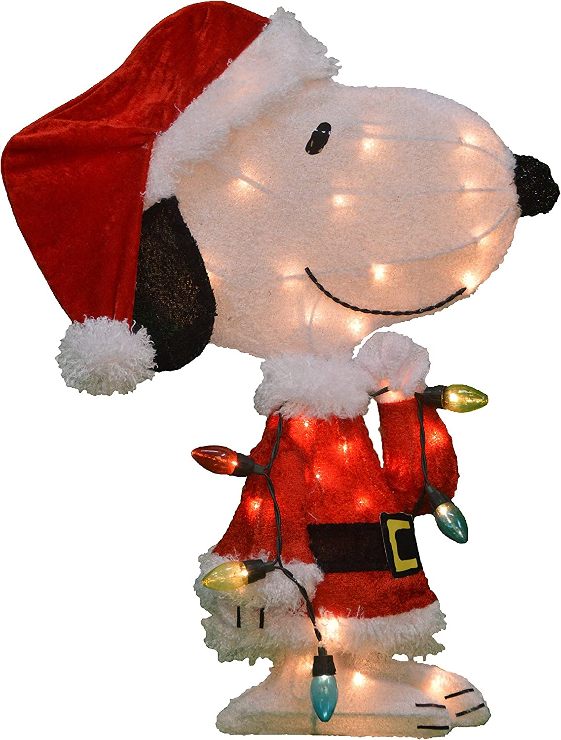 ProductWorks 24-Inch Pre-Lit Peanuts Snoopy with Strand Christmas Holiday Yard Art Decoration, 35 Lights