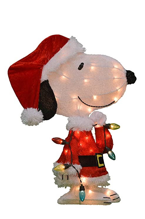 productworks 24 inch pre lit peanuts snoopy with strand of lights christmas yard decoration