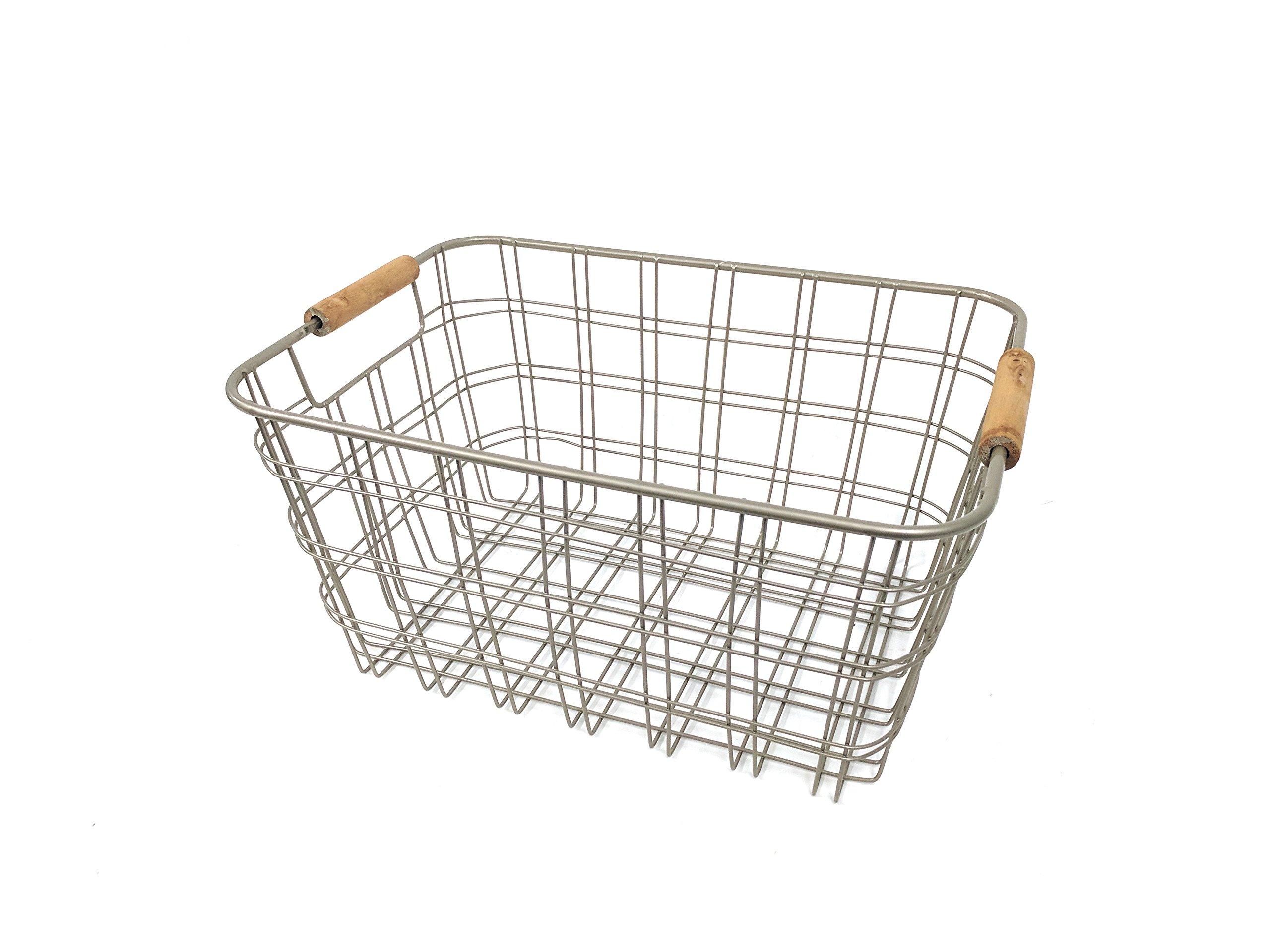 Designstyles Wired Metal Storage/Organizer Basket With Wooden Handel Shimmer Taupe