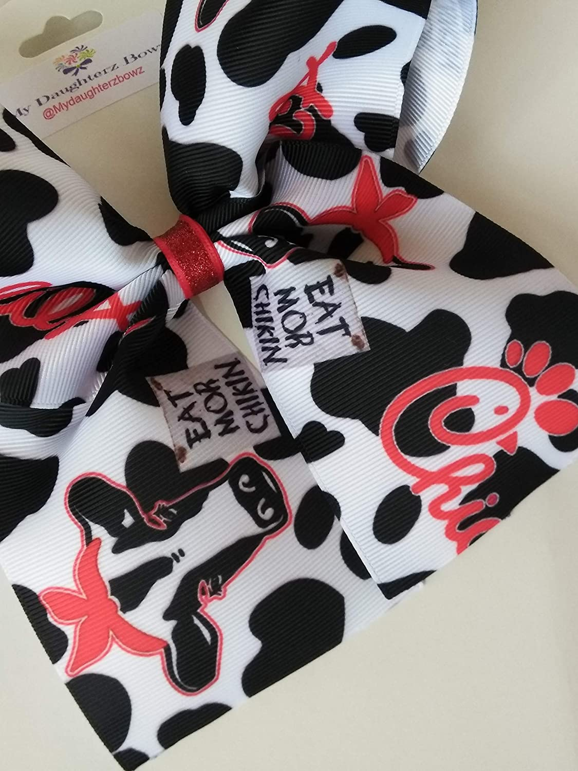 graphic about Eat Mor Chikin Printable Sign identified as : Chick fila influenced hair bow, Cow print hair bow