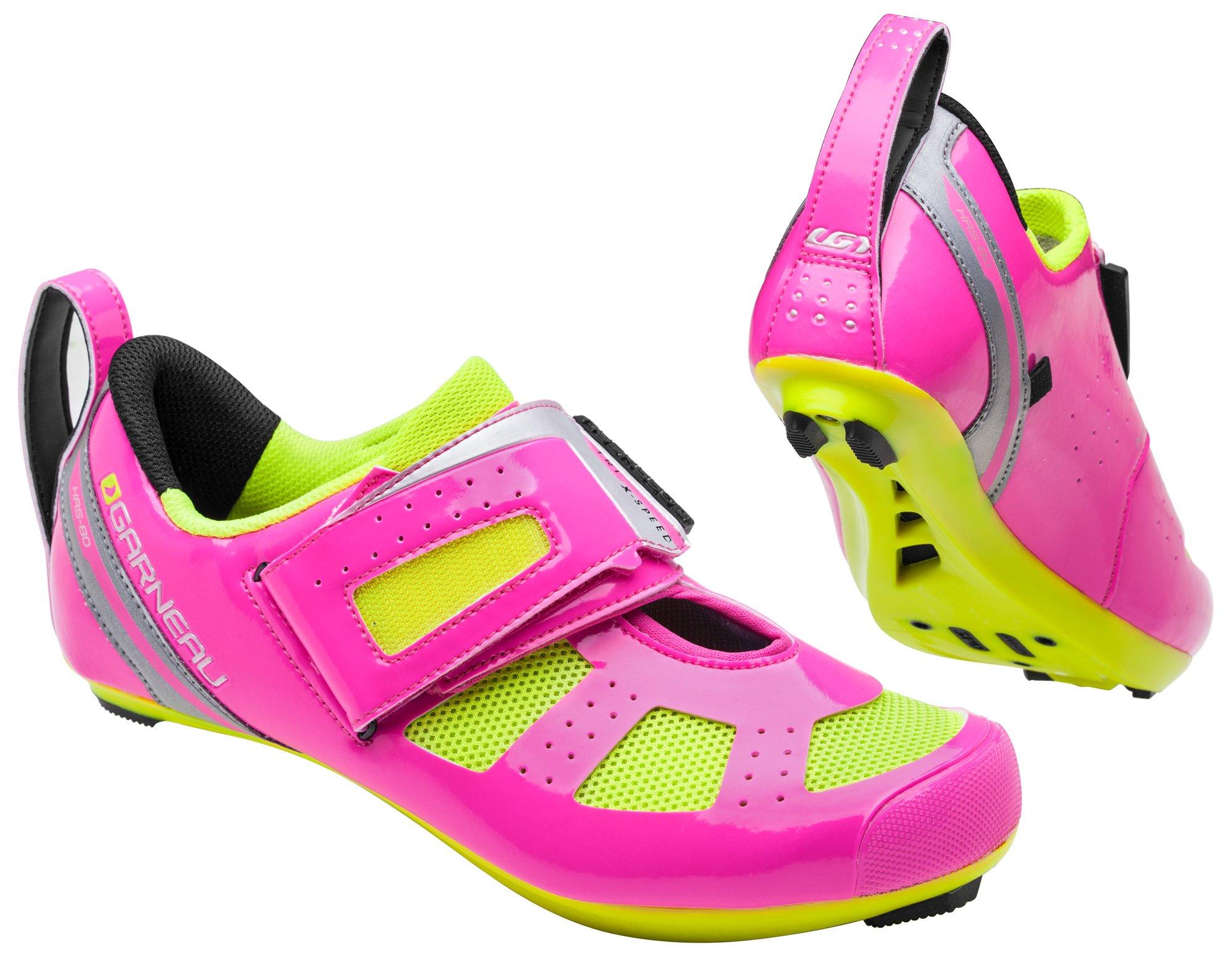 Louis Garneau - Women's Tri X-Speed 3 Triathlon Bike Shoes, Pink Glow/Bright Yellow, 41