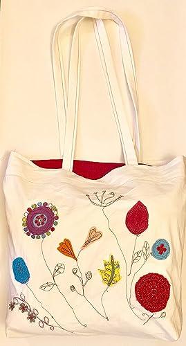 design innovativo 6ac98 774d0 Flower Lovers Bag - Two Sided -Borsa fatta a mano, dimensioni 41cmx41cm,  cotone, ricamata con fiori, borsa reversibile
