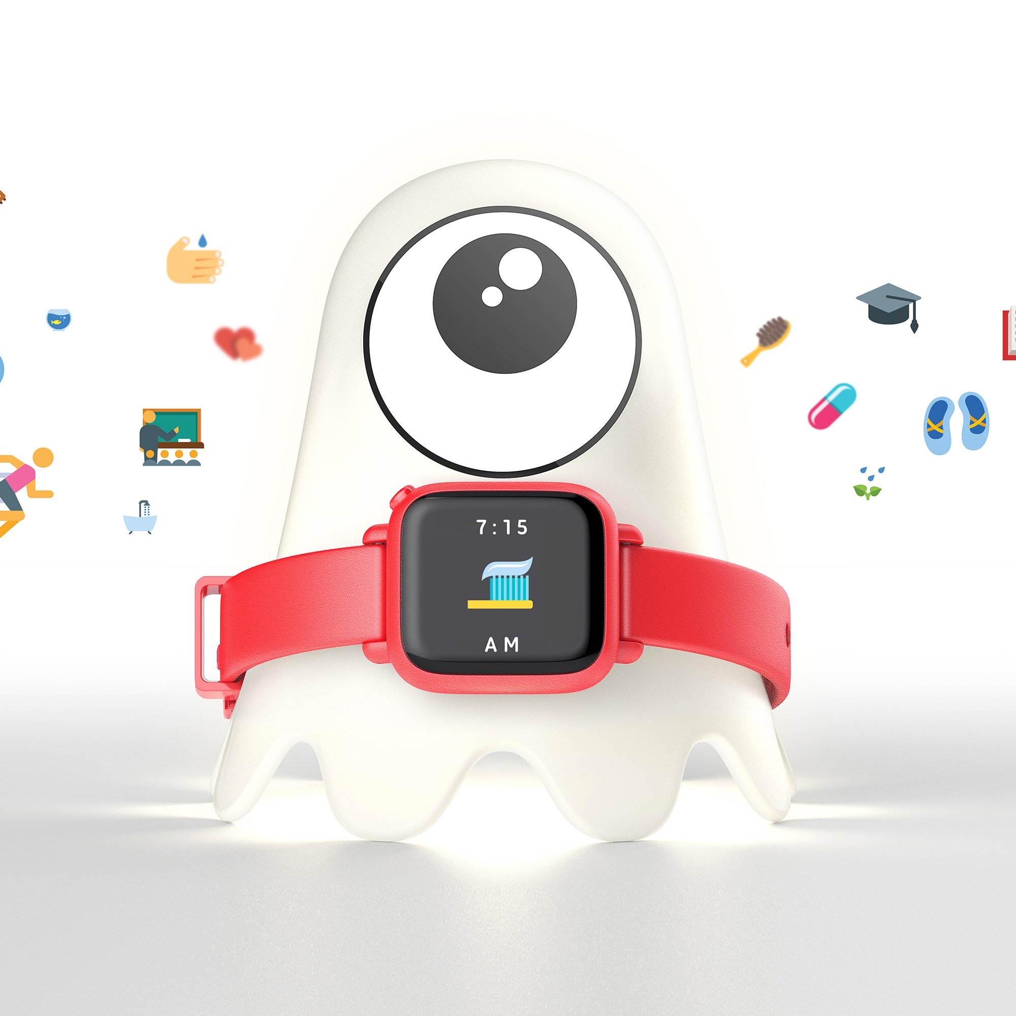 Octopus by Joy Kids Smartwatch Teaches Good Habits and time (Companion Bundle, Red)