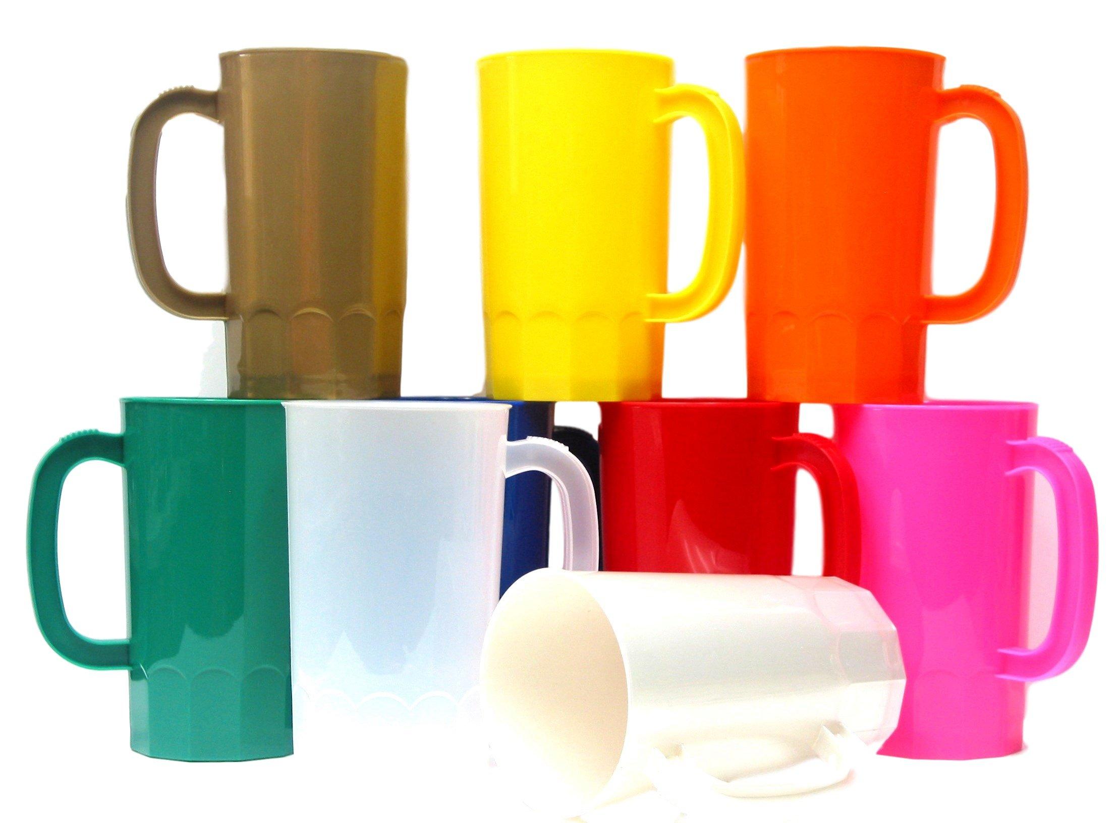 Talisman, Plastic Beer Mugs, Large 32 Ounce, Pack 9, Color Multi