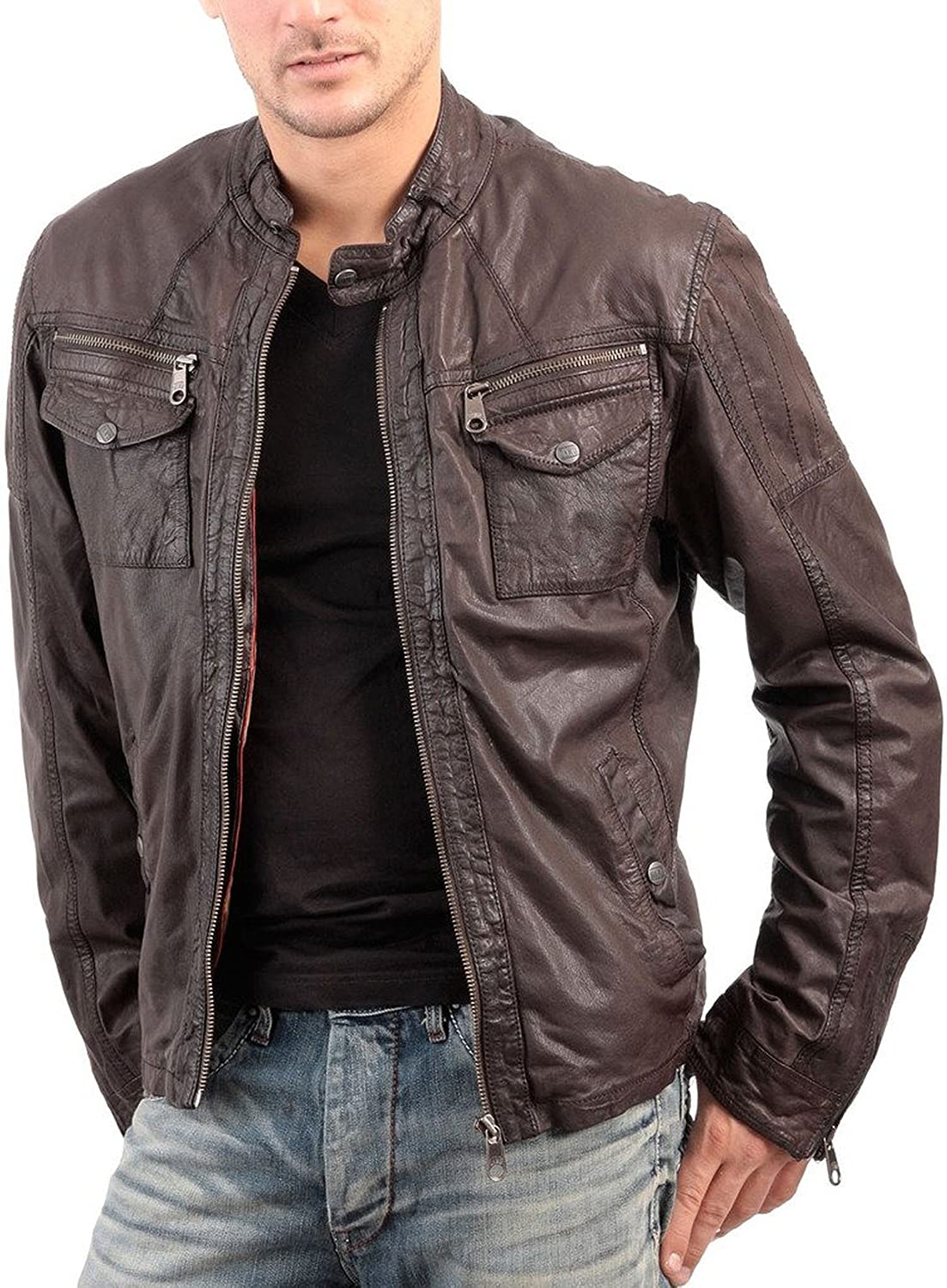 New Genuine Lambskin Leather Designer Jacket Motorcycle Biker Mens S M L XL T904