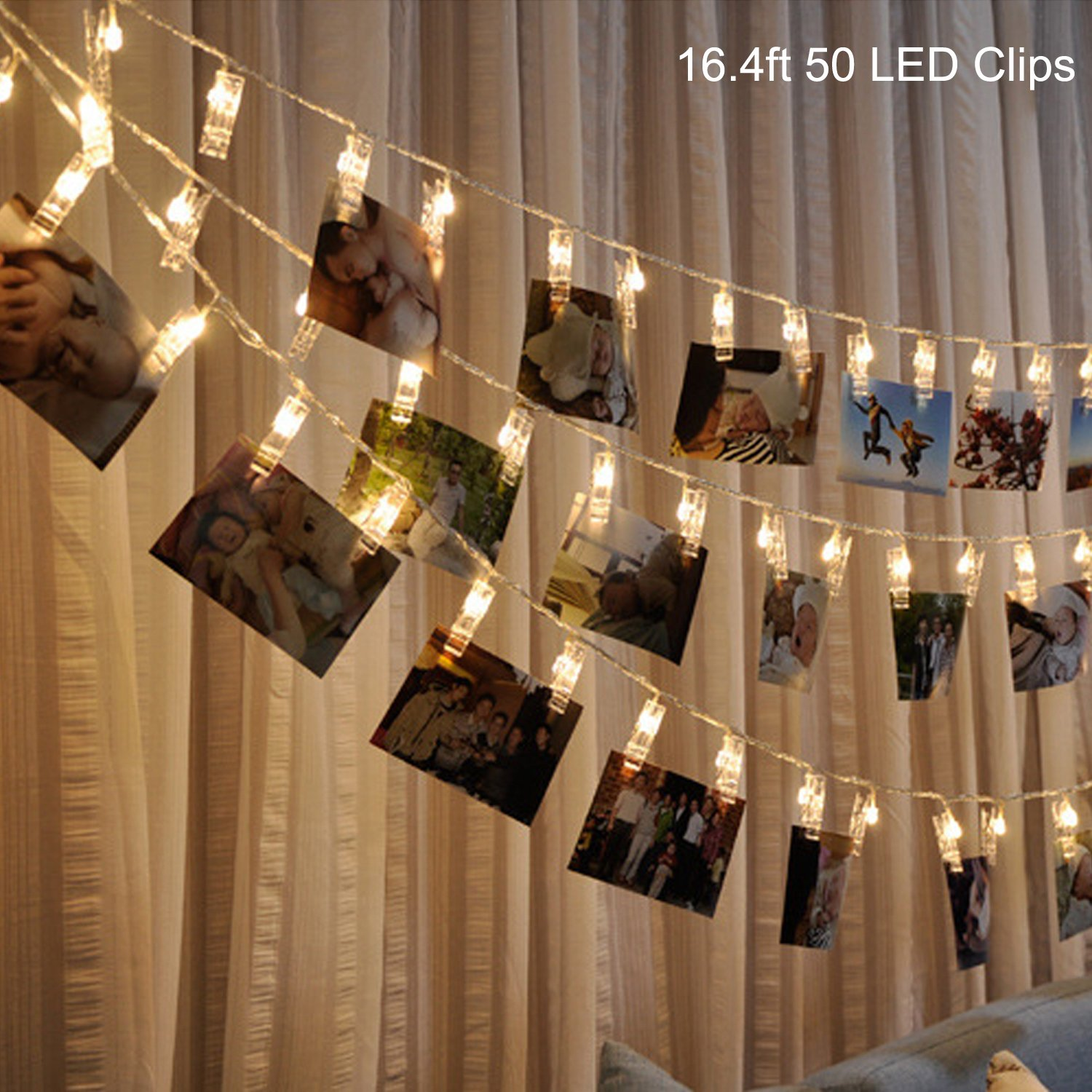 B1ST LED Photo Clip String Lights 16.4ft 5M 50 Clips Lights Battery Powered Rope Lighting Wedding Party Christmas Home Decor strand Light for Pictures Notes Artwork LED Decor (5 M Warm White)