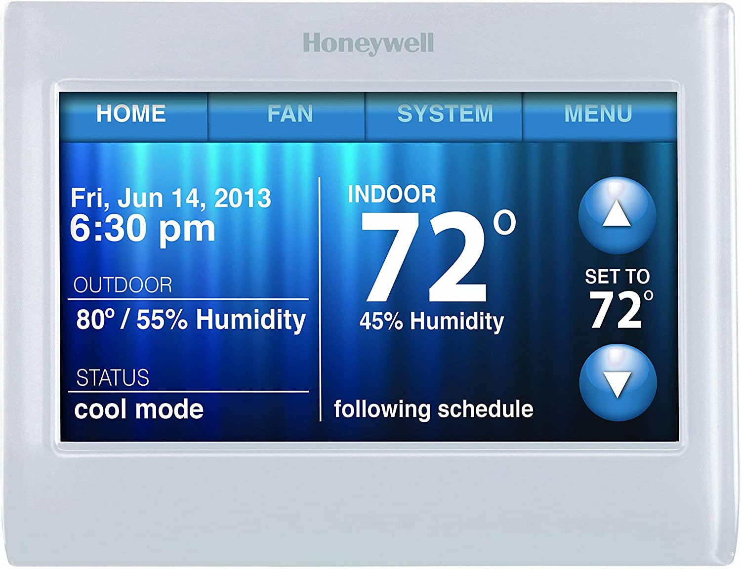 Honeywell TH9320WF5003 WiFi 9000 Color Touchscreen Thermostat, Works with Alexa, Needs 'C' Wire (Renewed)