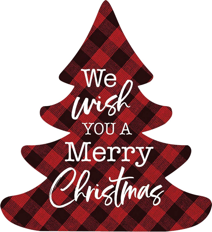 P. Graham Dunn We Wish You A Merry Christmas Red Plaid 3.5 x 3.194 Pine Wood Christmas Shape Sign