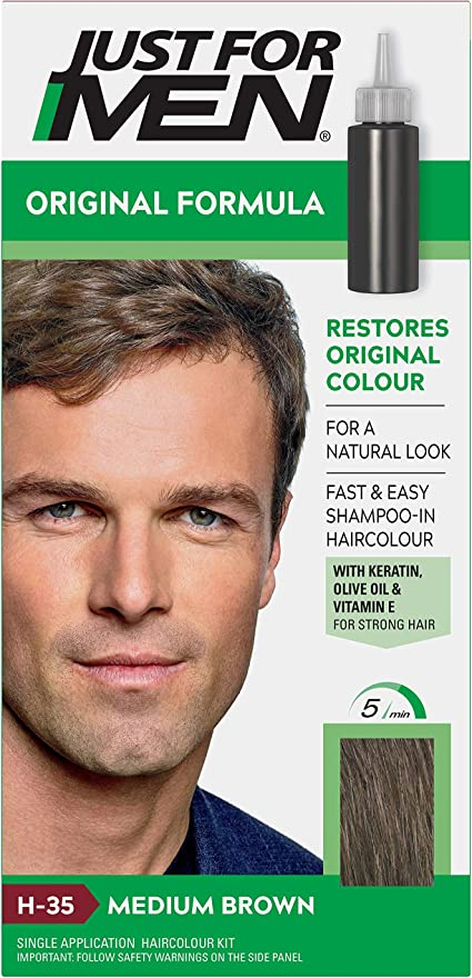 Just For Men Original Formula Medium Brown Hair Dye Restores Original Colour For A Natural Look H35 Amazon Co Uk Beauty