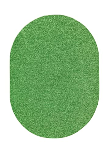 Ambiant Broadway Collection Pet Friendly Area Rug Lime Green – 5 x8 Oval with Non Slip Backing