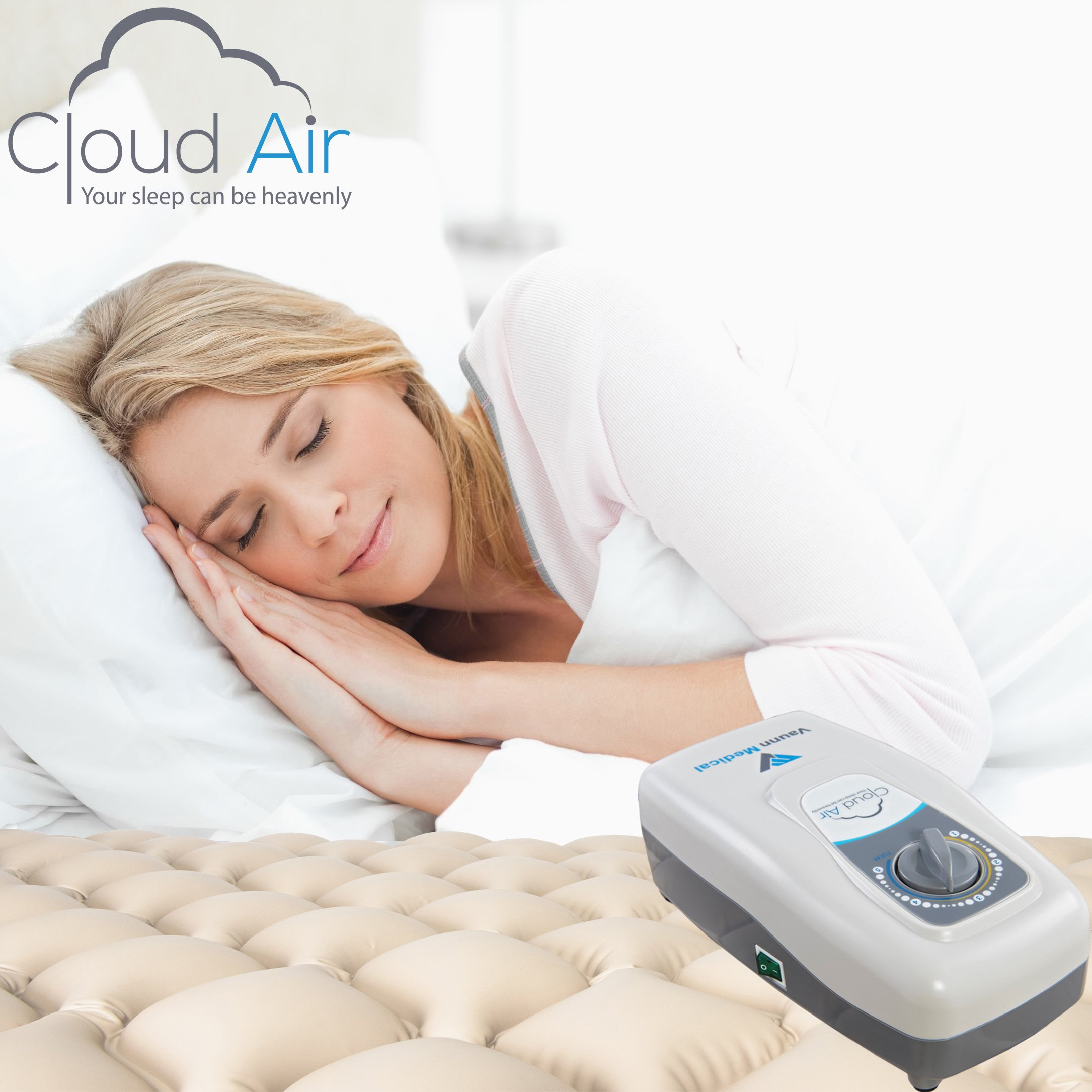 Cloud Air Whisper Quiet Alternating Air Pressure Mattress Topper with Pump