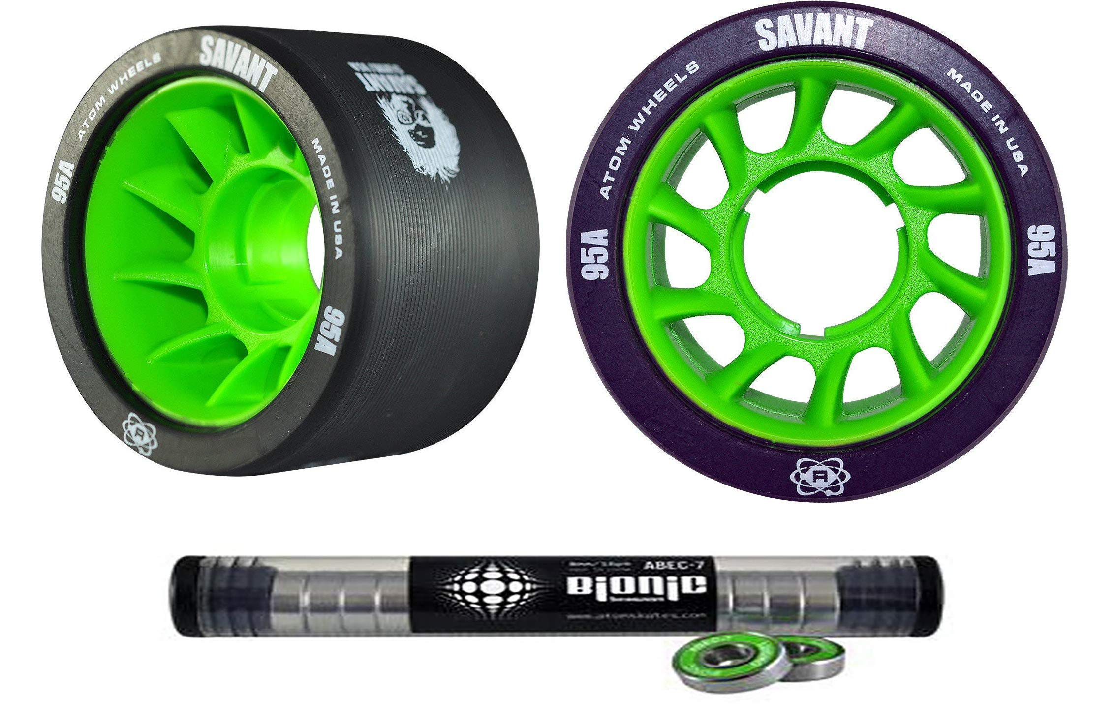Atom Savant Skate Wheels with Bionic Bearings 8mm Full Set of 8 Black 95A by Atom Skates