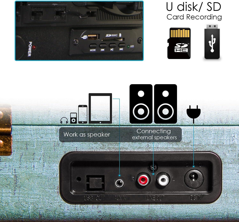 Tocadiscos Miric, Tocadiscos Bluetooth para Discos de Vinilo con 3 ...
