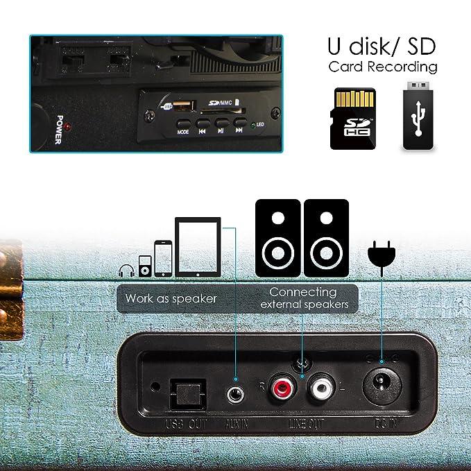 Tocadiscos Miric, Tocadiscos Bluetooth para Discos de Vinilo con 3 velocidades y Altavoces estéreos incorporados,Tiene Entrada para Auriculares, RAC y ...