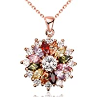 YAZILIND Jewelry Shining Fashion Color Zirconia Flower Shape Rose Gold Plated Pendant Necklace for Women Girls