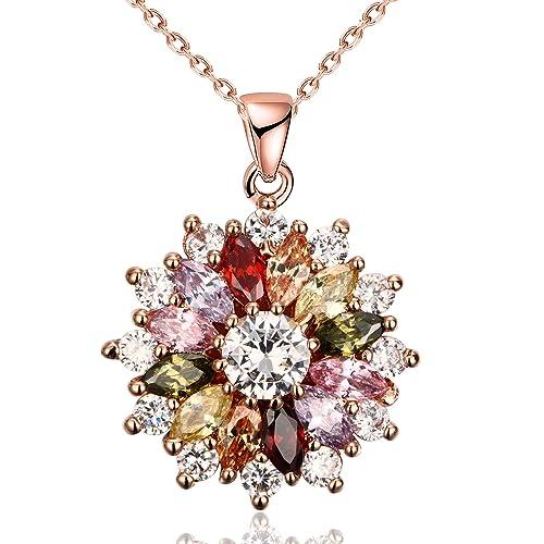 YAZILIND Schmucksachen glänzende Art und Weise Farbenzirconia Blumenform rosafarbenes Gold überzogene hängende Halskette für Frauenmädchen