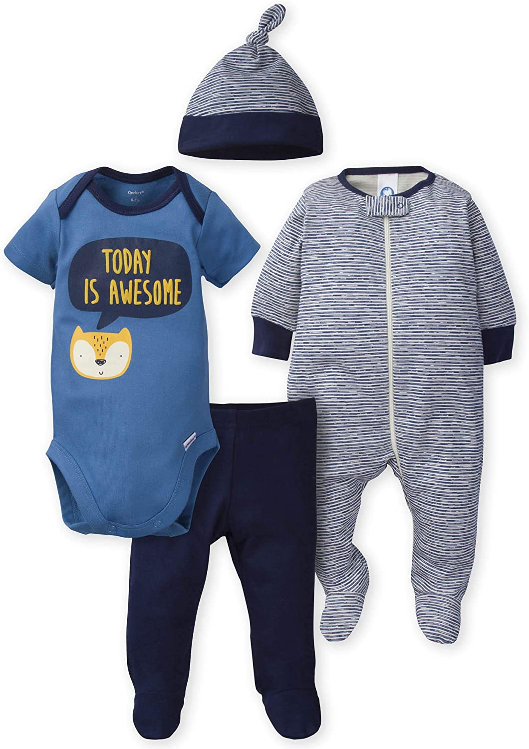 Gerber Baby Boys' 4-Piece Sleep 'N Play, Onesies, Pant and Cap