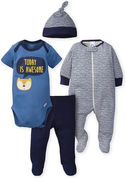 Baby Gear Boy 4 Piece Layette Set Bodysuit Pants Bib Size 3 6 9 12 Months Fox