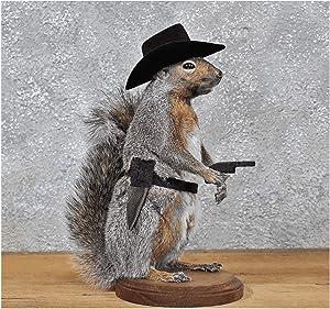 Cowboy Squirrel Taxidermy Statue on Base