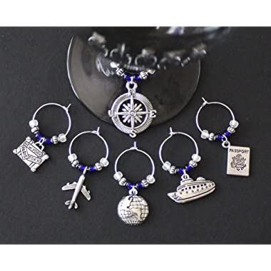 Travel Theme Wine Glass Charms-Set of 6