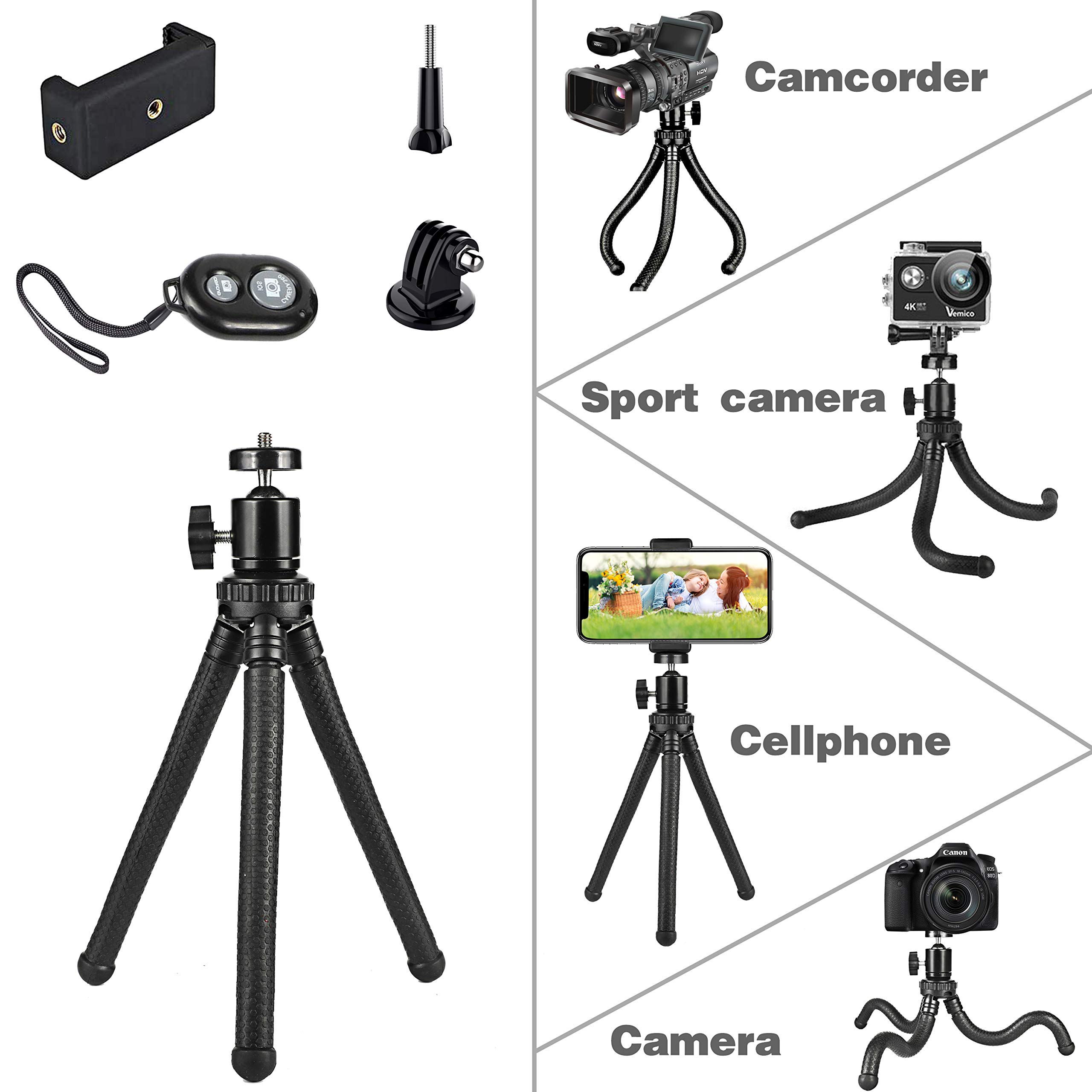 Details about Flexible Phone Tripod, Adjustable Anti-Crack Camera Tripod  with Wireless Remote