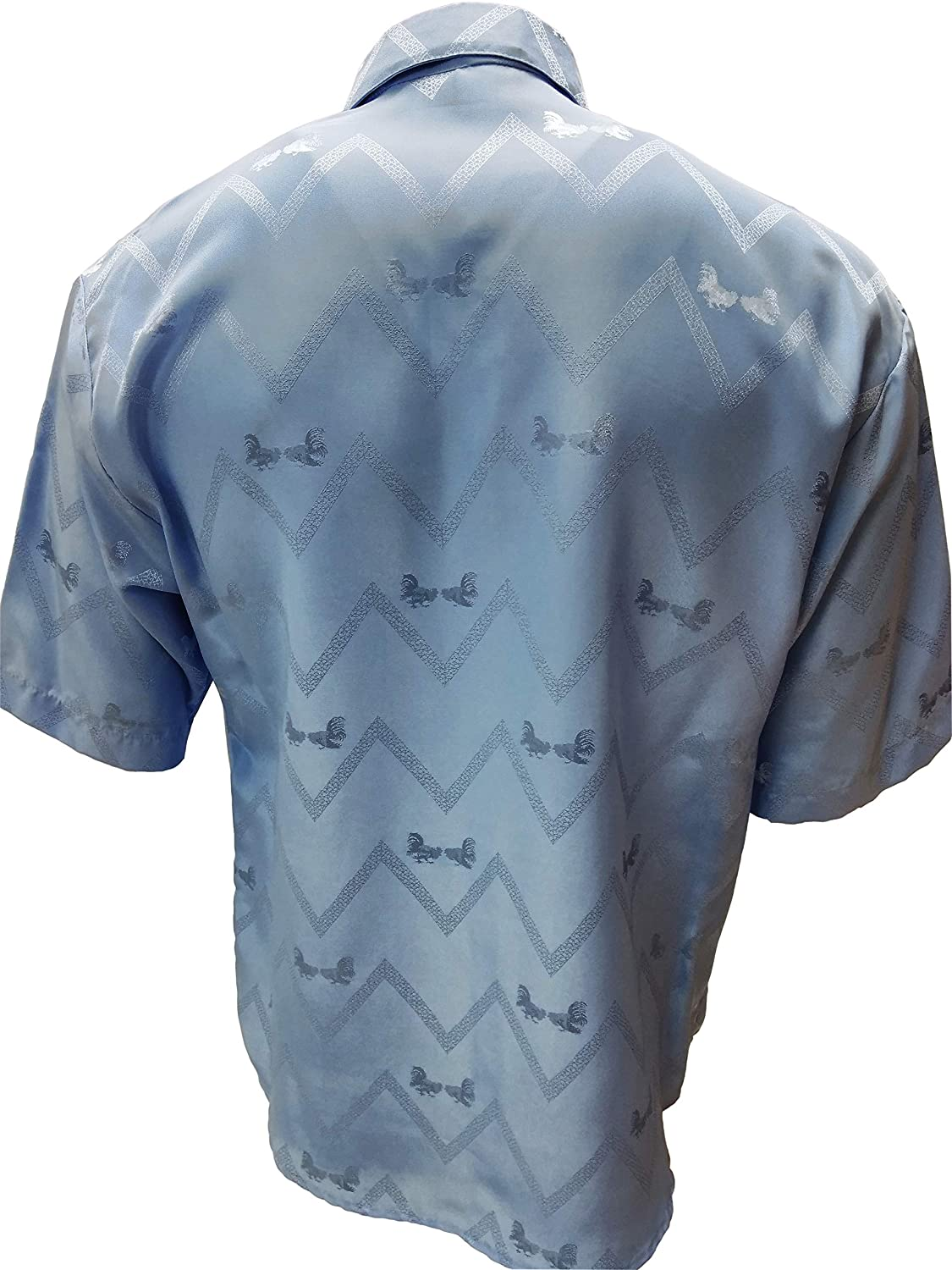 Jackard Solid Shirt Short Sleeve Roosters Blue Made in USA Cowboy Western Shirt