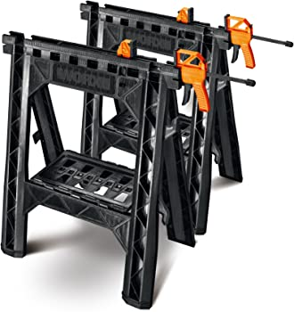 Worx WX065 Clamping Sawhorse Pair with Bar Clamps