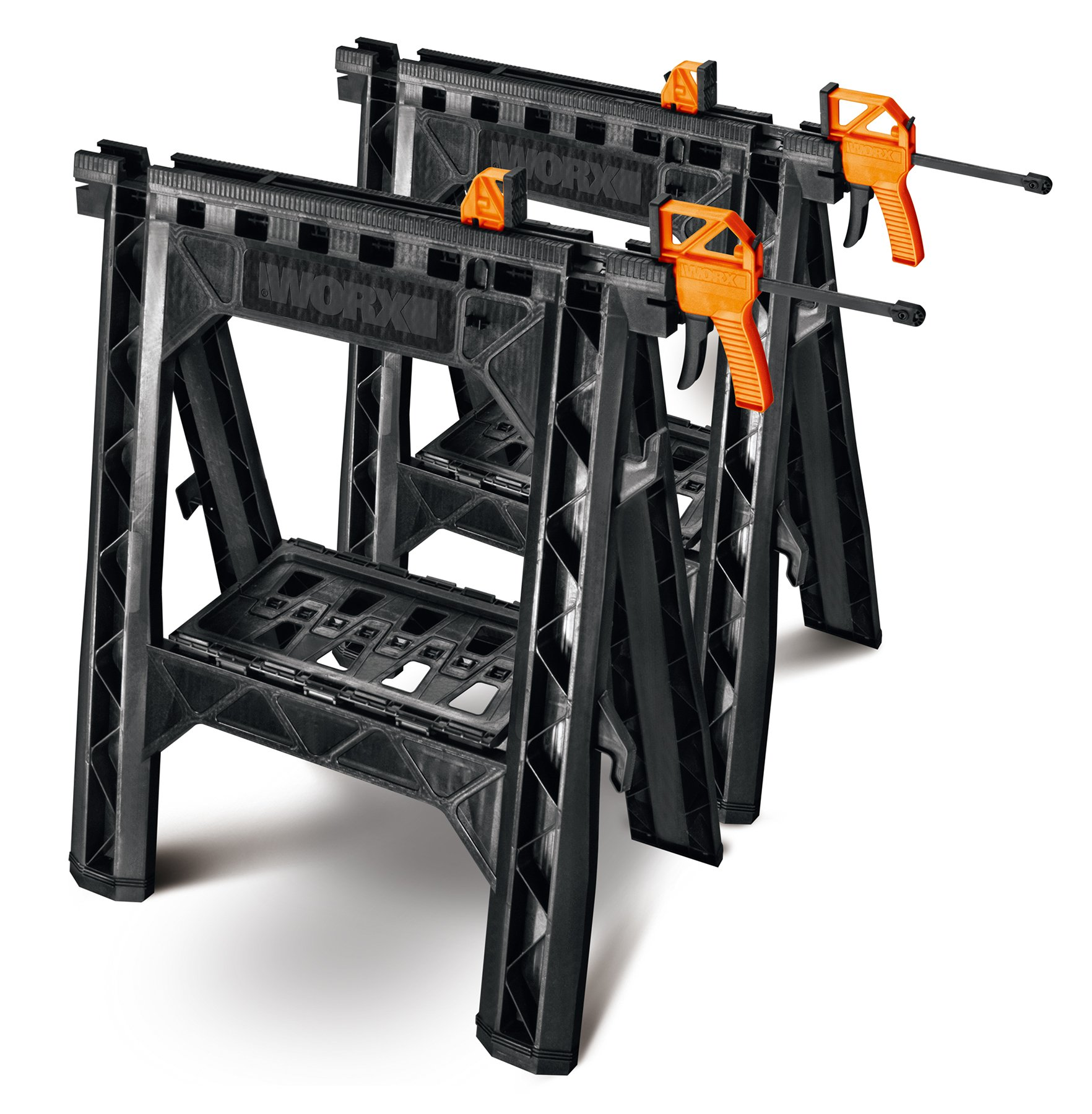 WORX Clamping Sawhorse Pair with Bar Clamps, Built-in Shelf and Cord Hooks – WX065 by Worx