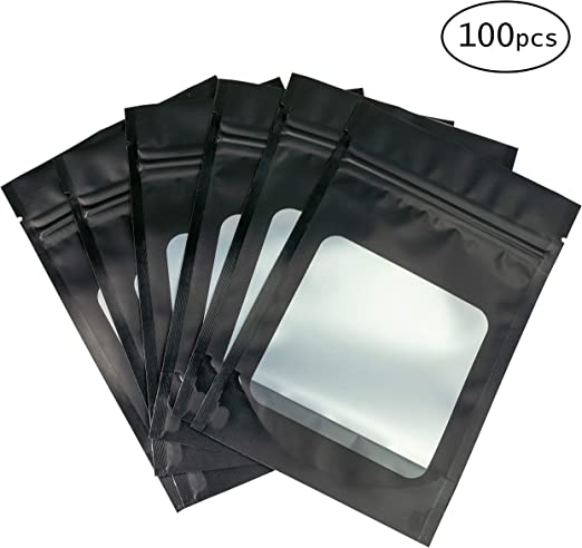 25 Smell Proof Bags with Window 3x4 Inches Matte Black Resealable Zip Lock Mylar