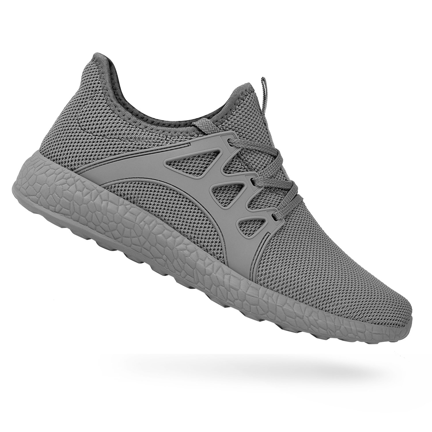 QANSI Men's Sneakers Mesh Ultra Breathable Lightweight Sports Running Shoes Gray Size 11 by QANSI