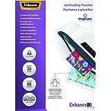 Fellowes 5396003 Pochettes de plastification A5 80 microns par 25 Transparent