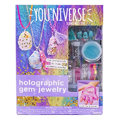 Youniverse Make Your Own Holographic Gem Jewelry by Horizon Group USA, DIY Slime Jewelry Making Kit, Gemstones & Jewelry Accessories Included, Multicolored: Toys & Games