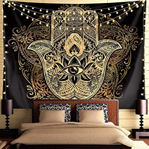 Psychedelic Tapestry Trippy Tapestry  Black Gold Hamsa Hand Tapestry Mandala Medallion Bohemian Tapestry Evil Eye Hamsa Hand Blessing Home Good Luck Wall Decor Tapestry For Bedroom Dorm Room. (79