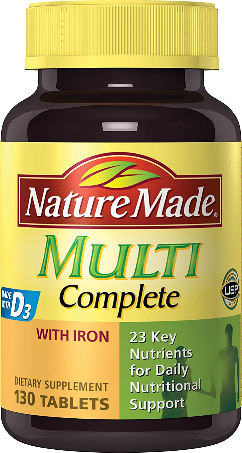 nature made multivitamin complete with iron 130 tablets