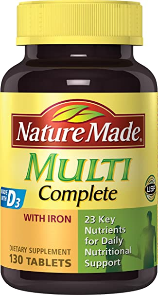Nature Made Multi Complete with Iron 130 Tablets Vitamins, Minerals & Supplements at amazon