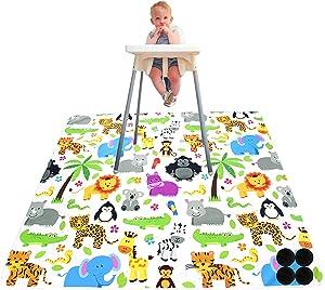 Paw Legend Washable Highchair Splat Floor Mat- Anti-Slip Silicone Spot Splash Mess Mat(53'' X 53'')-Food Catcher Art Craft Leak Proof Mat,Animal