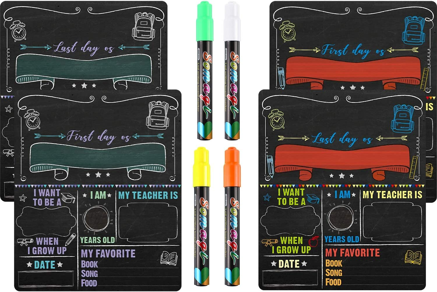 2 Pieces Paper First and Last Day of School Chalkboard Sign Cardboard Back to School Sign with 4 Color Liquid Chalk Markers for Kids, Back to School Photo Prop Cardboard Double Sided (6 Pieces)
