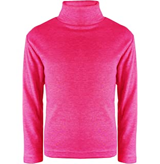 Girls Boys Kids Baby Teens Childrens Plain Ribbed High Neck Polo Neck Jumper Top