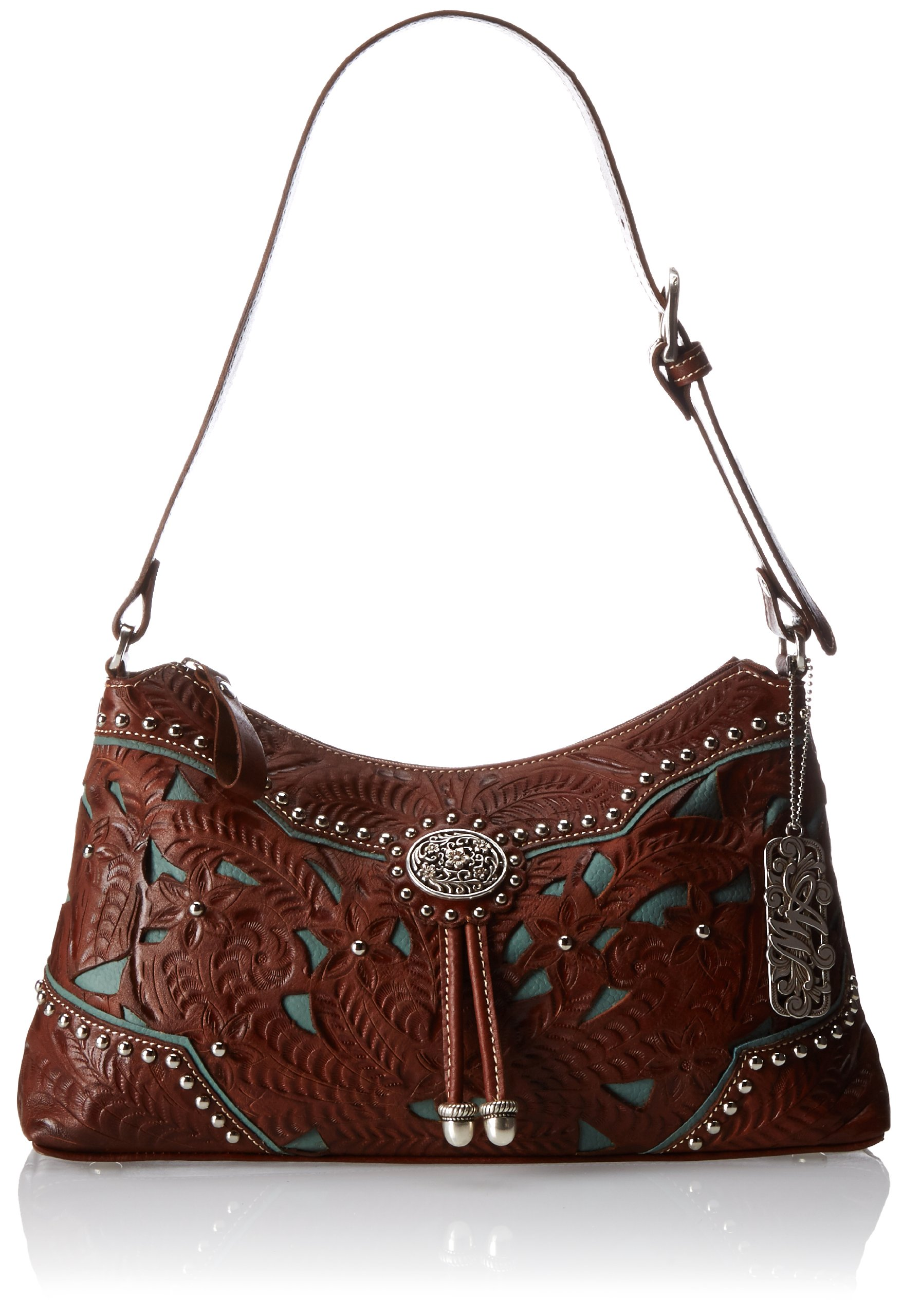 American West Lady Lace Zip-Top Shoulder Bag,Antique Brown/Turquoise,One Size