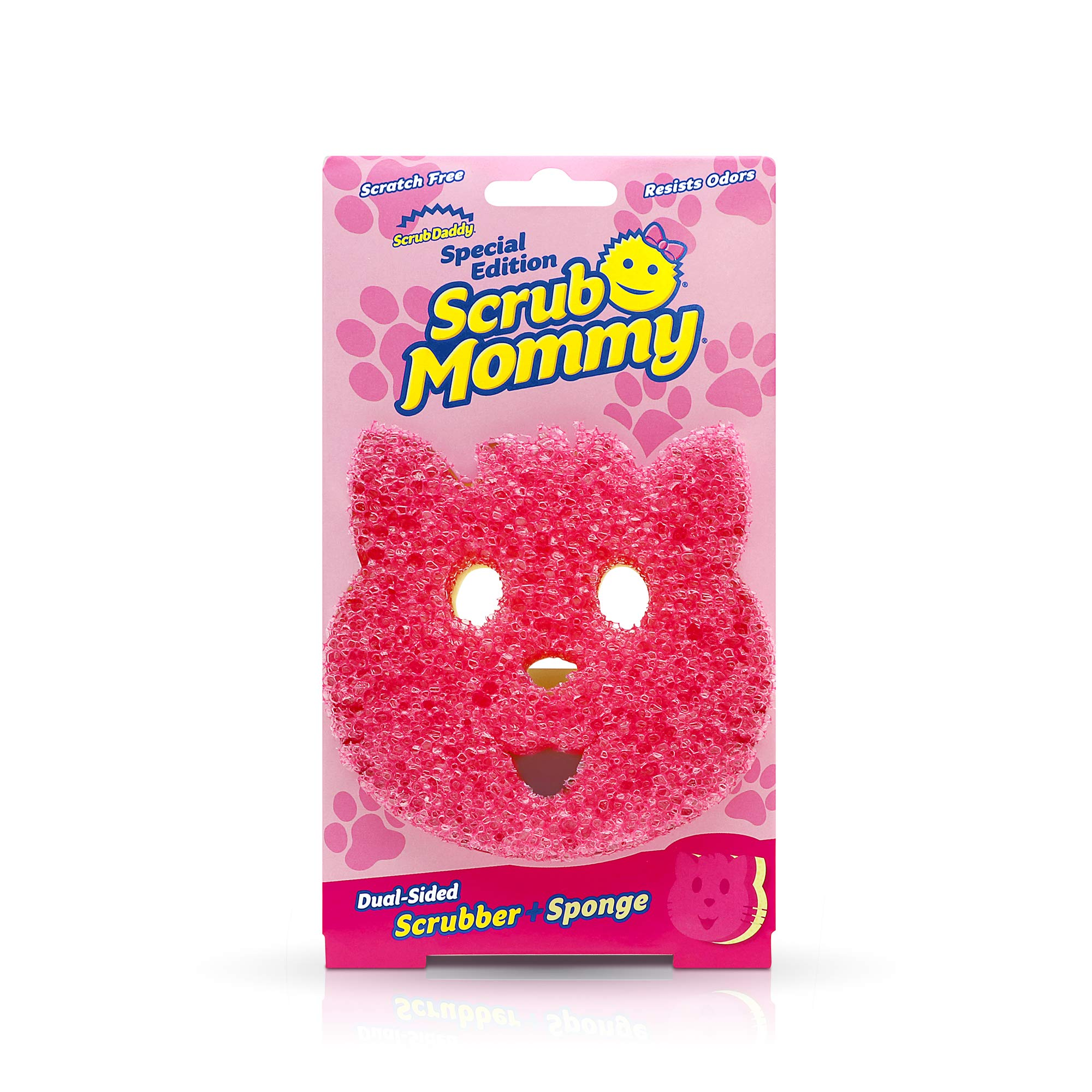 Scrub Daddy Dual-Sided Sponge and Scrubber - Scrub Mommy Special Edition Cat Shape - Scratch Free, Odor Resistant, Multi-Surface, Soft in Warm Water, Firm in Cold, FlexTexture, Dishwasher Safe - 1 ct