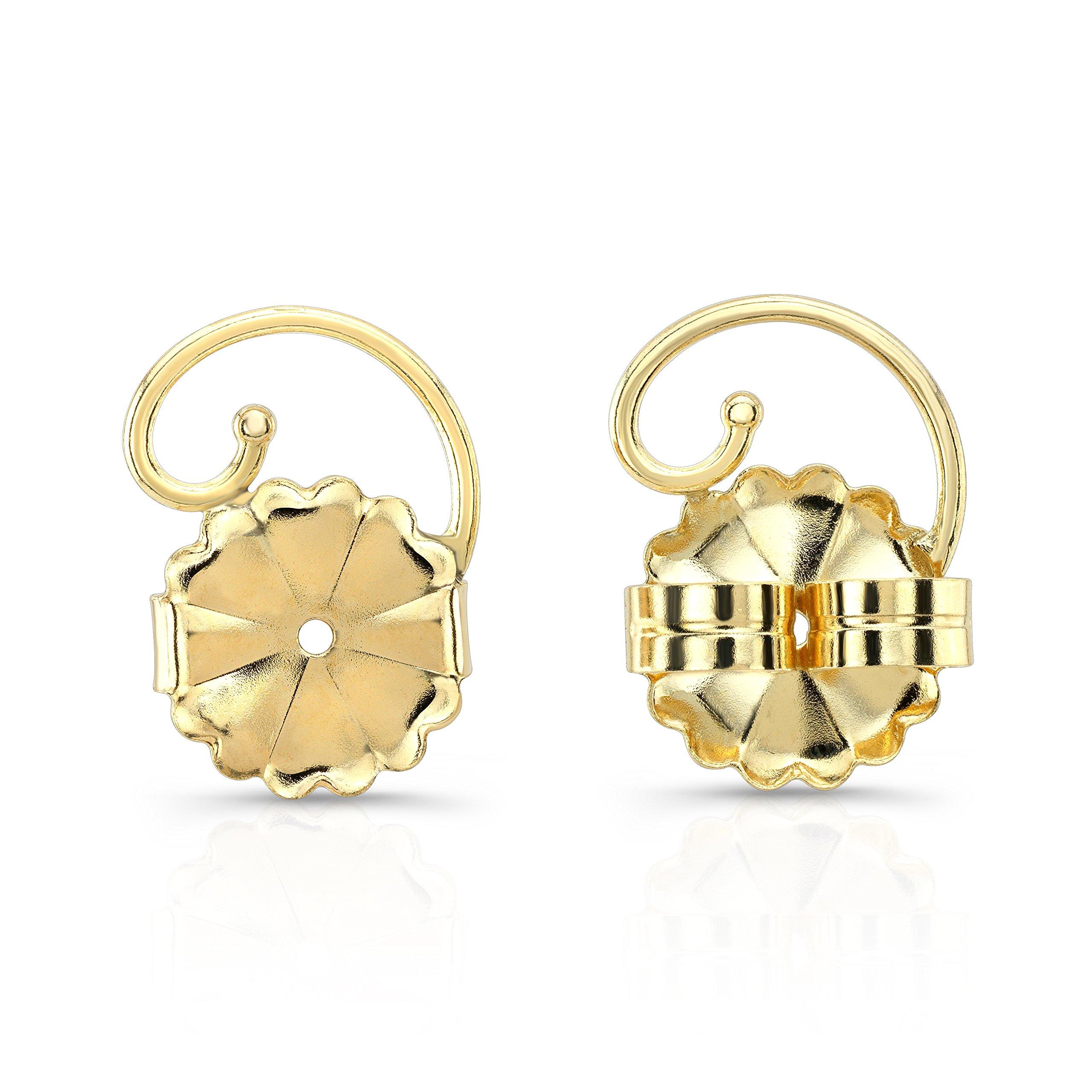Levears 14K Yellow Gold Pierced Ear Lobe Earring backs Lifts Support Post / Stud