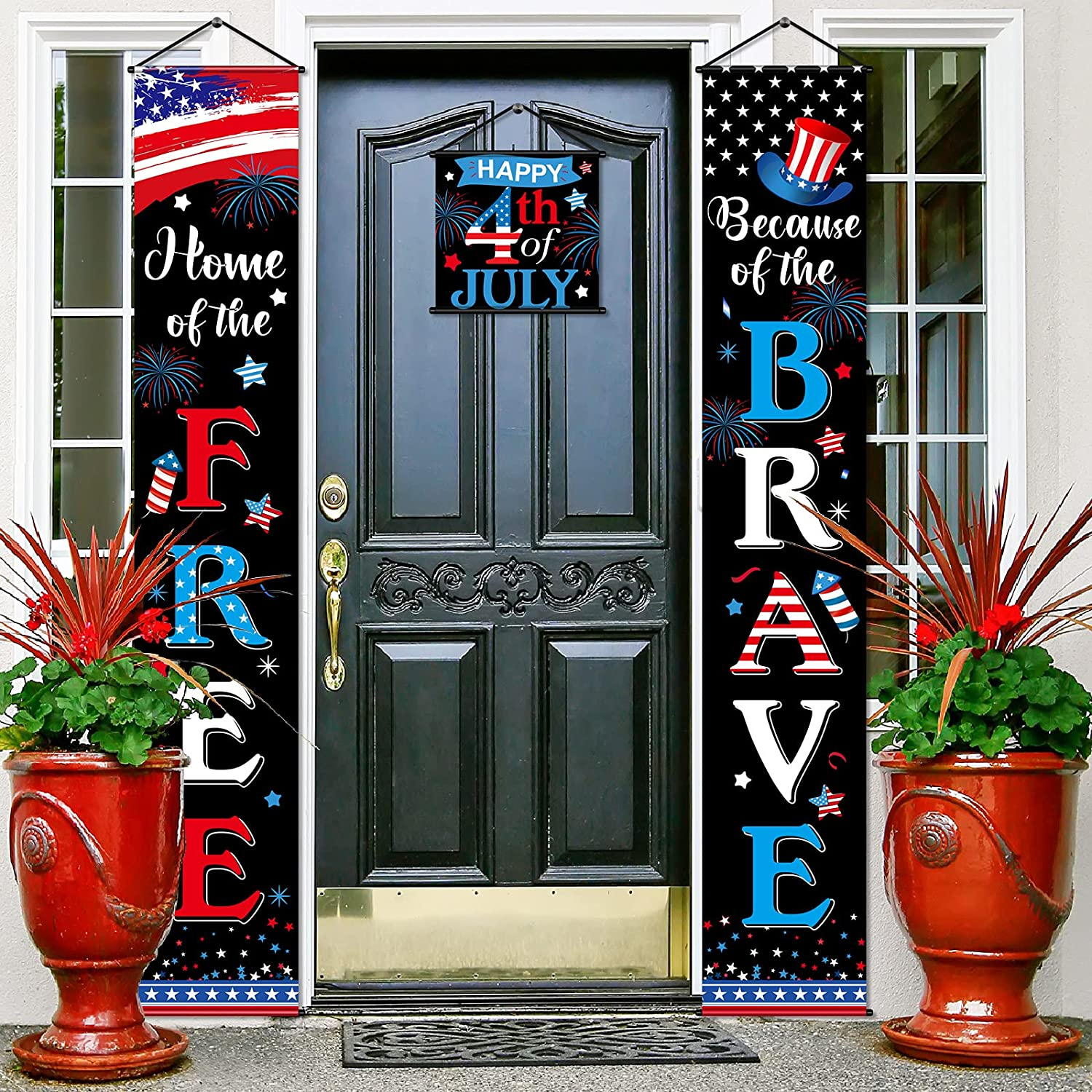 3 Pieces 4th of July Decoration Independence Day Patriotic Banner Flag Home of The Free and Because of The Brave Veterans Day Hanging Sign Set for House Yard Porch Garden Indoor Outdoor Party Supply