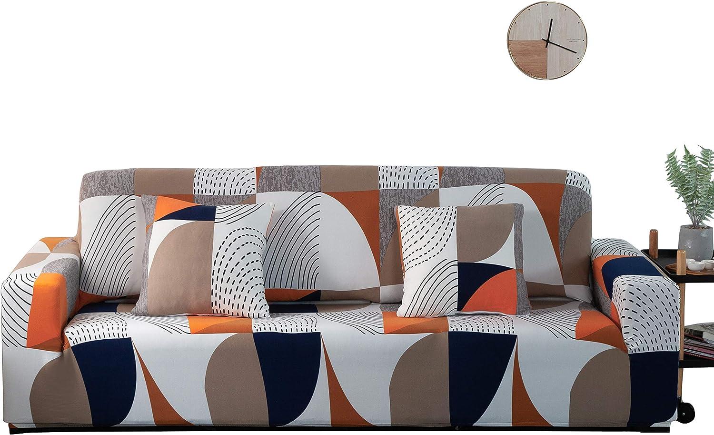 ARNTY Fundas Sofa Elasticas 1/2/3/4 Plazas,Cubre Sofa,Fundas para Sofa,Decorativas Fundas de Sofa Protector para el Sofa Chaise Longue (Vistoso-Patrón Geométrico, Funda Sofa 4 Plaza:231-300cm)
