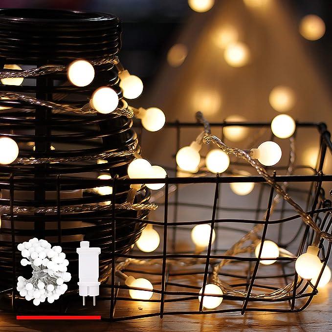 myCozyLite® Cadena de luces led con temporizador, globo, resistente al agua, enchufe y caja de cables, decoración para árbol de Navidad, plástico, Led Globe Light Pack, Built-in LED 7.20W 31.00V: Amazon.es: Iluminación