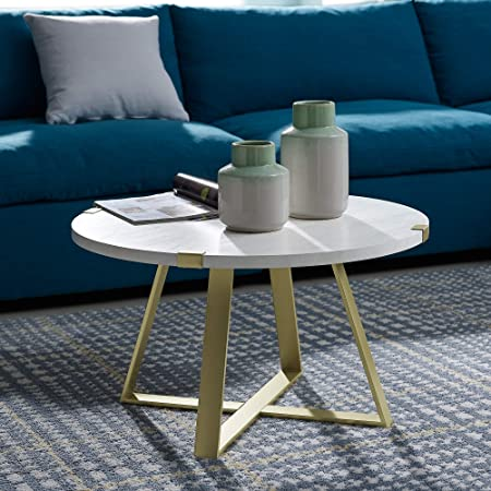 WE Furniture AZF30MWCTMG Coffee Table White Faux Marble Gold