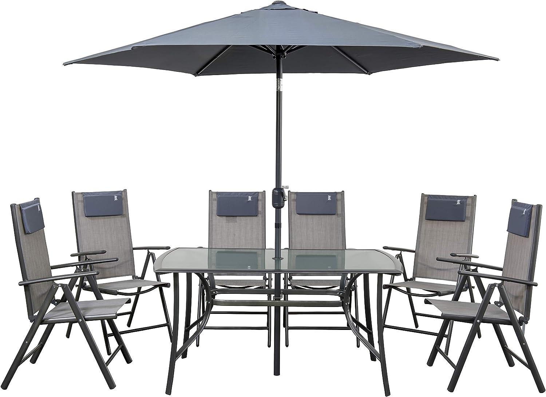 newgarden - Juego de Mesa y sillas de jardín de Resina y sombrilla ...