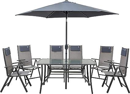 newgarden - Juego de Mesa y sillas de jardín de Resina y sombrilla Rio Set: Amazon.es: Hogar
