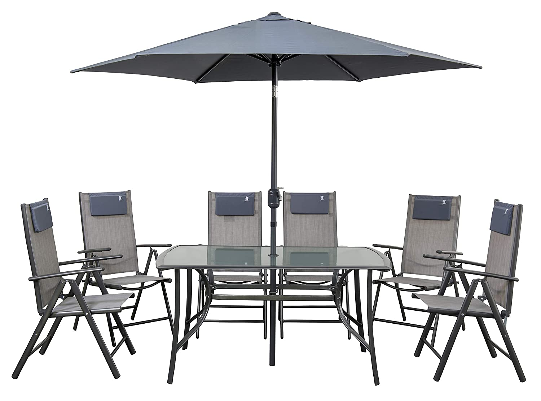 newgarden Juego de jardín Mesa sillas de Resina y sombrilla ...